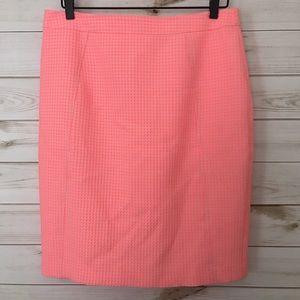 Halogen Neon Pink Houndstooth Skirt, Size 10
